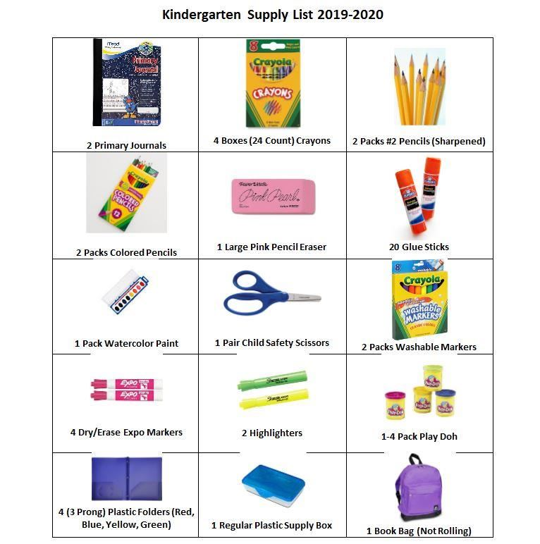 2019/2020 Kindergarten Supply List