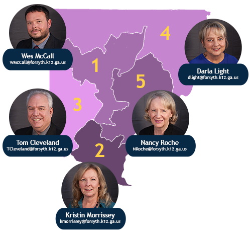 Forsyth County Board of Education Members map