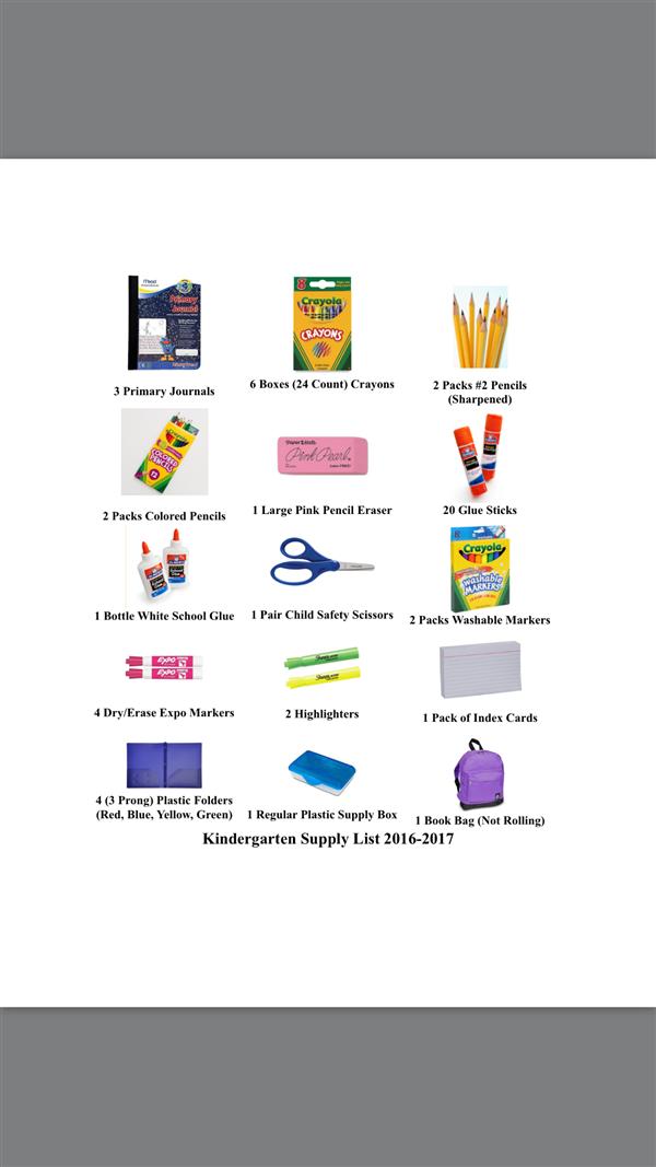 Kindergarten / School Supply List 2016-17